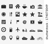 collection of travel icons | Shutterstock . vector #174073049