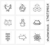 mobile ui line icon set of 9...