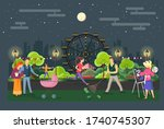 different people walking in the ... | Shutterstock .eps vector #1740745307