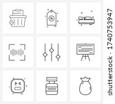 mobile ui line icon set of 9...