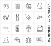 mobile ui line icon set of 16...
