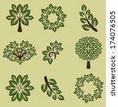 branch silhouettes. vector... | Shutterstock .eps vector #174076505
