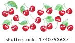 cherry isolated. cherry fruit... | Shutterstock . vector #1740793637