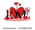 font love with drawing red... | Shutterstock .eps vector #1740807044