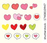 cute heart collection  diary... | Shutterstock .eps vector #1740810947