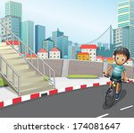 illustration of a boy biking at ... | Shutterstock . vector #174081647