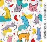 seamless pattern with cute cats ... | Shutterstock .eps vector #1740839354