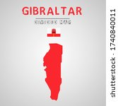 detailed map of gibraltar with...   Shutterstock .eps vector #1740840011