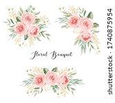 peach flower bouquet. for... | Shutterstock .eps vector #1740875954