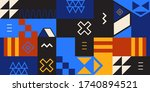retro colorful geometric shapes....   Shutterstock .eps vector #1740894521
