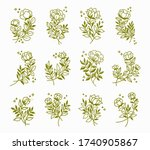 vector set of floral... | Shutterstock .eps vector #1740905867