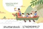 dragon boat racing team upon... | Shutterstock .eps vector #1740909917