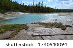 Late Spring in Yellowstone National Park: Glittering Sunlight on Crackling Lake with Crackling Spring Steaming in the Background in the Porcelain Basin Area of Norris Geyser Basin