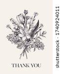 thank you card. flower bouquet. ... | Shutterstock .eps vector #1740924011