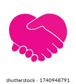 heart icon with hand shake... | Shutterstock .eps vector #1740948791