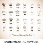 crowns and moustaches. vector... | Shutterstock .eps vector #174095051