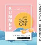 summer sale design with paper... | Shutterstock .eps vector #1740953024