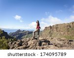 young woman on top of a... | Shutterstock . vector #174095789