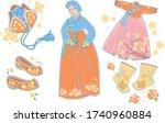 korean traditional female... | Shutterstock .eps vector #1740960884