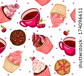 seamless pattern with cherry...   Shutterstock .eps vector #174096611