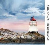 Norwegian Lighthouse. White...