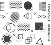memphis style with geometric... | Shutterstock .eps vector #1740989381