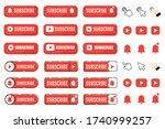 subscribe  call button and hand ... | Shutterstock .eps vector #1740999257