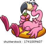 pink flamingo with sunglasses... | Shutterstock .eps vector #1741009607
