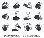 hand washing icons set. vector... | Shutterstock .eps vector #1741019837