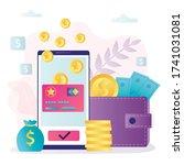 phone screen with bonus card...   Shutterstock .eps vector #1741031081