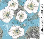 blue and white poppy flowers  ... | Shutterstock .eps vector #174105599