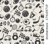 seamless pattern of sport icons. | Shutterstock .eps vector #174105719