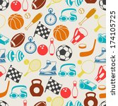 seamless pattern of sport icons. | Shutterstock .eps vector #174105725