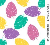 seamless pattern tropical plant.... | Shutterstock .eps vector #1741057367