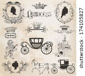 vintage princess girl set   for ... | Shutterstock .eps vector #174105827