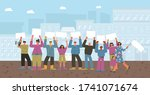 protest. growd of people... | Shutterstock .eps vector #1741071674
