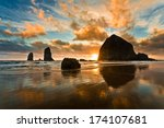 Haystack Rock At Sunset Cannon...
