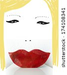 blonde woman with red lips | Shutterstock . vector #174108341