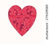 valentine card wih floral heart....   Shutterstock .eps vector #174109085