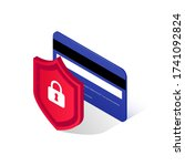 credit card security isometric... | Shutterstock .eps vector #1741092824