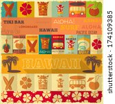hawaii surf retro card in... | Shutterstock .eps vector #174109385