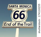 historic route 66 sign at santa ...   Shutterstock . vector #174110255