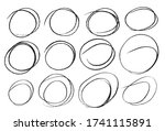hand drawn ink line circles or... | Shutterstock .eps vector #1741115891