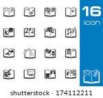 vector black schoolbooks icon... | Shutterstock .eps vector #174112211
