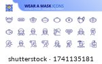 outline icons about wear a mask.... | Shutterstock .eps vector #1741135181