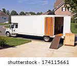 side view of a white moving and ...   Shutterstock . vector #174115661