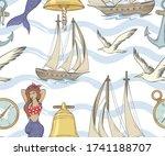 Nautical Seamless Pattern With...