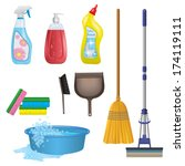 cleaning icons set | Shutterstock .eps vector #174119111