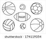 set of sport balls outline  ... | Shutterstock .eps vector #174119354