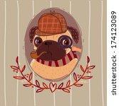 pug   sherlock holmes. portrait. | Shutterstock .eps vector #174123089